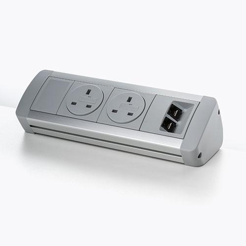 Low angle desk top personal Power & data Module. Desk top socket module. USB charging port 2.1 amp 5V. BS5733 socket. 2 gang. 4 gang.