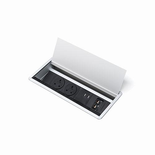 Indesk access flap and power & data module. Indesk personal power, data, AV module. BS5733 socket. Indesk power. USB charging port 2.1 amps 5V. 2 gang. 4 gang. socket module.