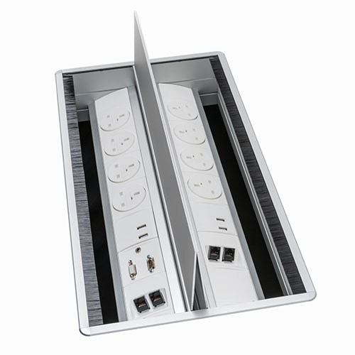 Indesk access flaps and power & data module. Indesk personal power, data, AV module. BS5733 socket. Indesk power. USB charging port 2.1 amps 5V. 2 gang. 4 gang. socket module.