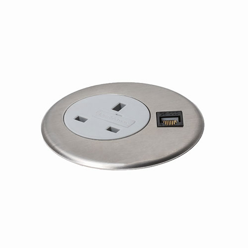Indesk personal Power & data grommet mount socket unit. Indesk personal power, data, AV module. BS5733 socket. Indesk power. USB charging port 2.1 amps 5V. 2 gang. 4 gang. socket module.