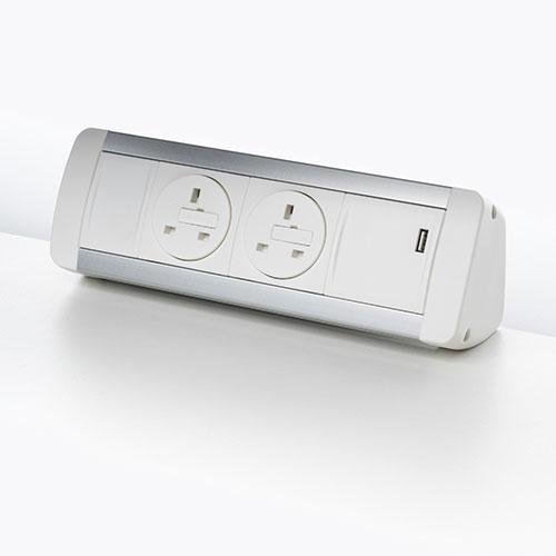 High angle desk top personal Power & data Module. Desk top socket module. USB charging port 2.1 amp 5V. BS5733 socket. 2 gang. 4 gang.