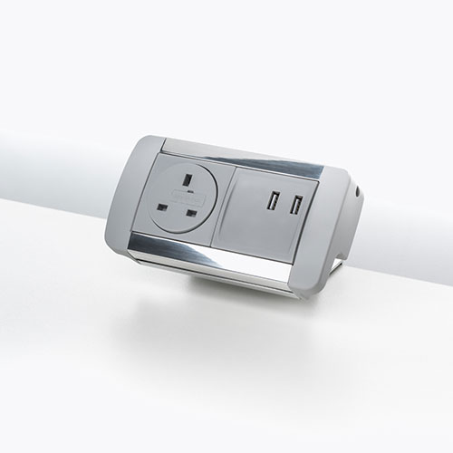 Flat desk top personal Power & data Module. Desk top socket module. USB charging port 2.1 amp 5V. BS5733 socket. 2 gang. 4 gang.