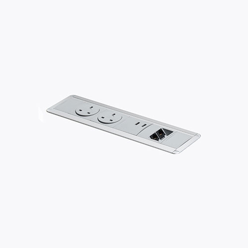 Flush mount indesk Power & data. Indesk personal power, data, AV module. BS5733 socket. Indesk power. USB charging port 2.1 amps 5V. 2 gang. 4 gang. socket module.