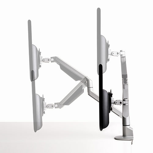Articulated monitor arm. Gas lift monitor arm. Gas assisted monitor arm. Screen arm.